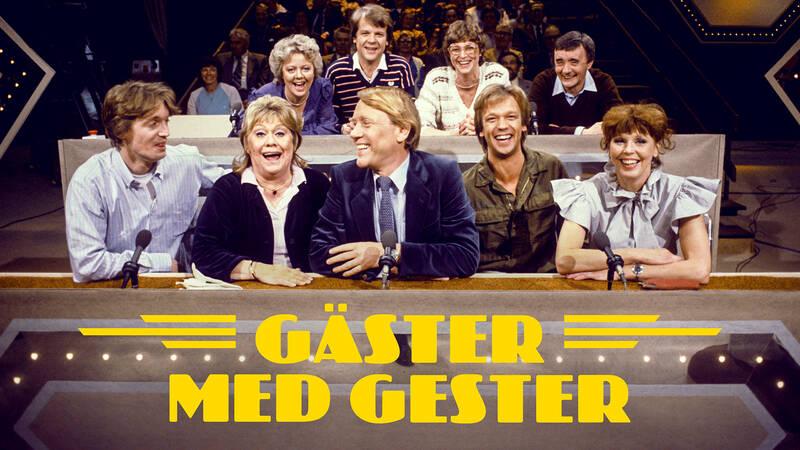 Gunilla Åkesson, Lars Berghagen, Jeja Sundström och Jarl Borsén, Johannes Brost, Inga Gill, programledaren Lennart Swahn, Björn Skifs och Meg Westergren i Gäster med gester 1987.