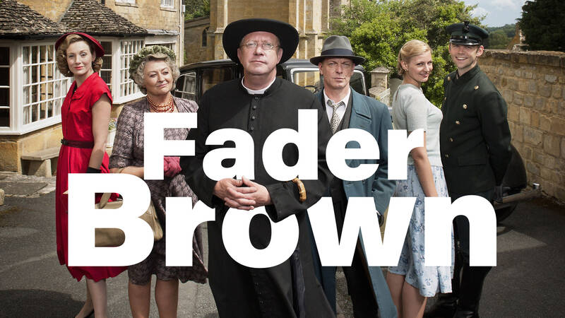Lady Felicia (NANCY CARROLL), Mrs McCarthy (SORCHA CUSACK), Father Brown (MARK WILLIAMS), Inspector Valentine (HUGO SPEER), Susie (KASIA KOLECZEK) och Sid (ALEX PRICE).