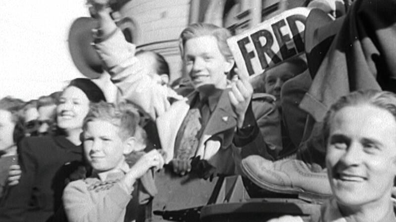 Fredsdagen i Stockholm 1945.