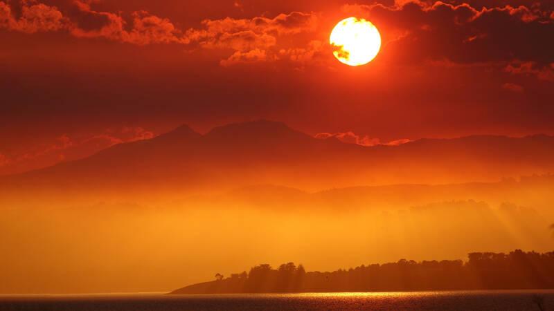 Solnedgång över Bruny Island, Tasmanien