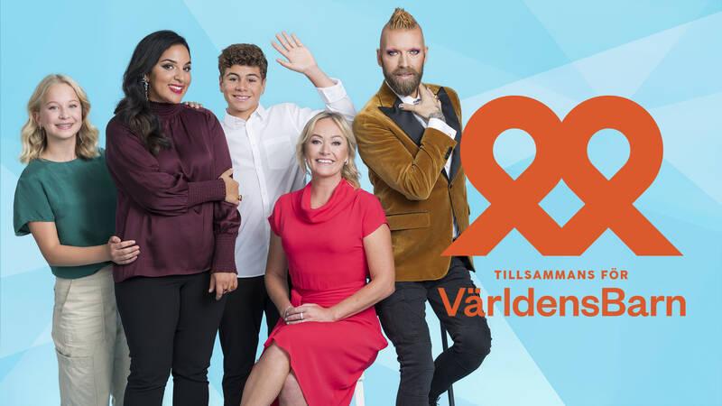 Sigrid, Tara Moshizi, Leon, Yvette Hermundstad  och Rickard Söderberg i Tillsammans för Världens barn.