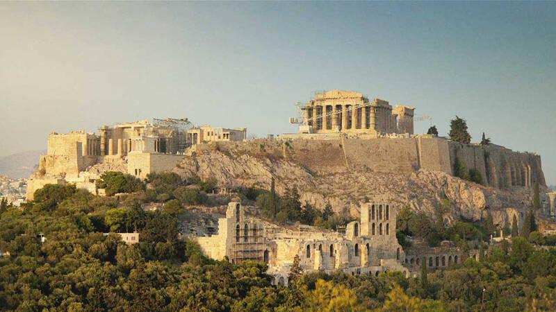 Ruiner av antika byggnader.