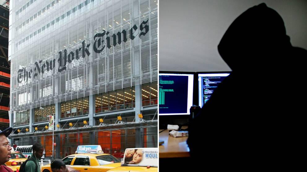new york times byggnad och en hacker
