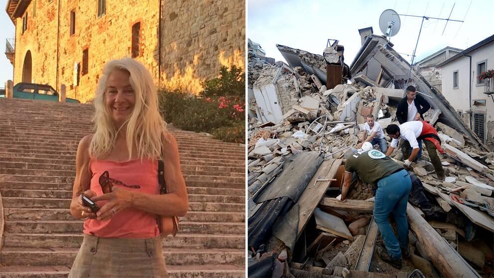 Caroline von Rosen, som bor i italienska Umbrien, väcktes av jordskalvet i natt.
