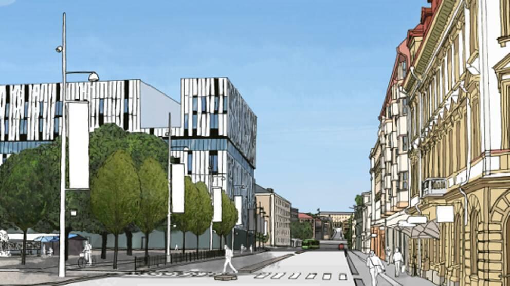 """Under torsdagen påbörjades den andra etappen av ombyggnationen av Drottninggatan/Vaksalagatan, den så kallade """"paradgatan"""". Arbetet väntas vara klart sommaren 2017, och under tiden stängs trafiken av längs med Vaksala torg."""