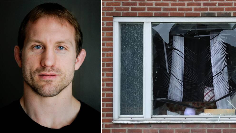 Polisen Martin Marmgren, till höger fönstret på Dimvädersgatan i Göteborg.