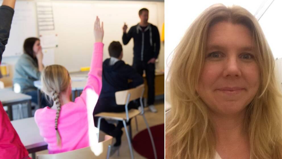 Klassrum. Till höger Karin Berg, lärare Schillerska.