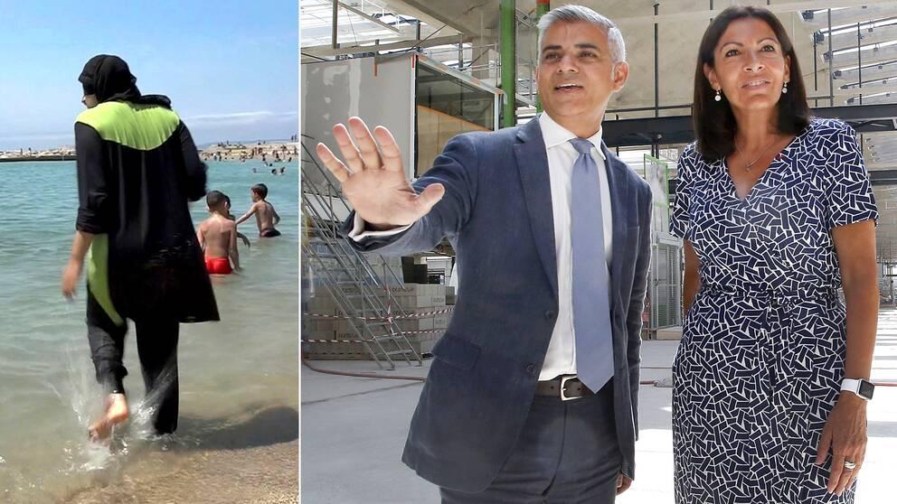 Paris borgmästare Anne Hidalgo (till höger) tog emot Londons motsvarighet, Sadiq Khan, i den franska huvudstaden – vid pressträffen fick de båda borgmästarna frågor om hur de ställer sig de burkini-förbud som införts i flera franska kommuner.