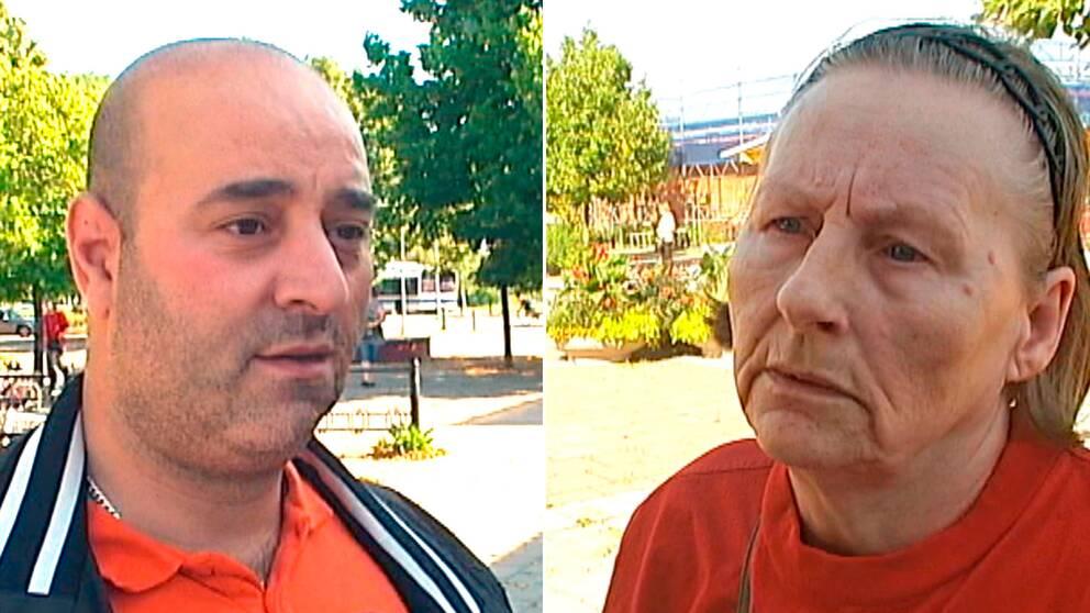 Bäckbyborna Toufic El-Natour och Irmelin Andersson tror att kameraövervakning kan vara en bra metod för att stoppa bilbränder.