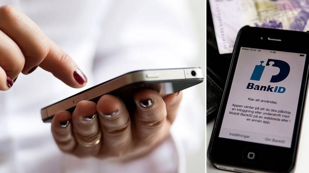 Hand som håller i mobil
