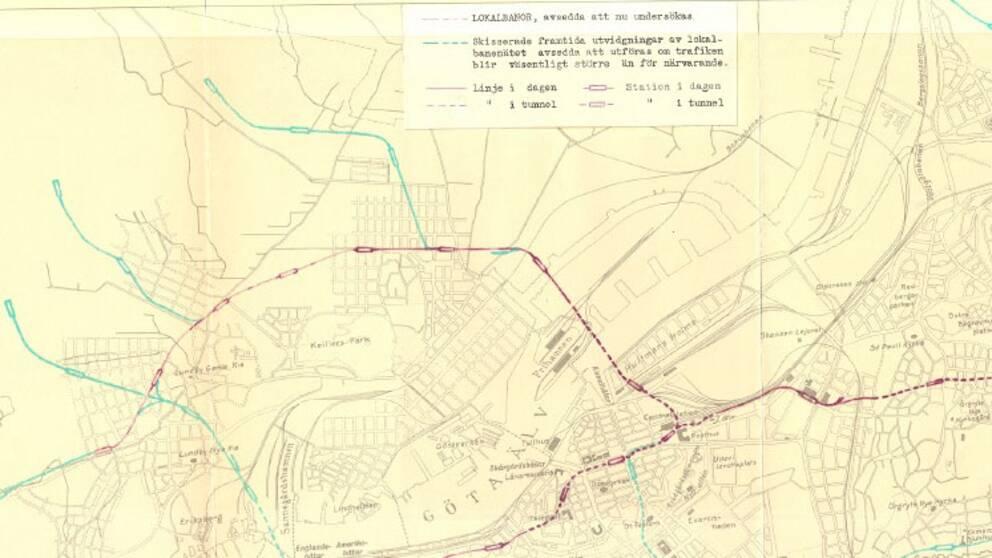 Tunnelbanakarta från 1934
