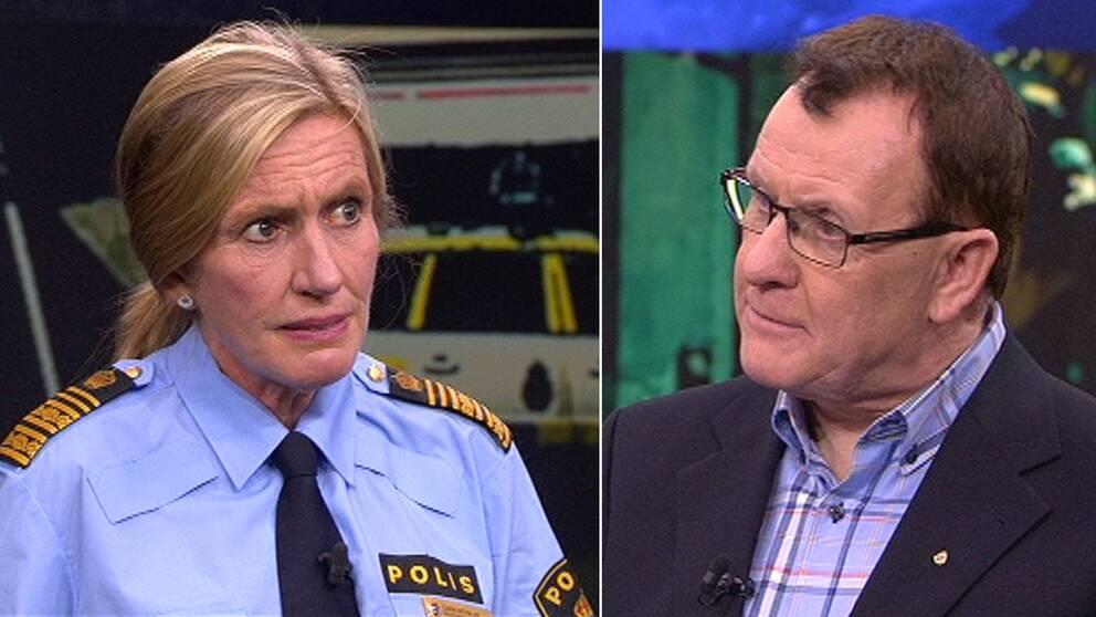 Uppsalapolisens presstalesperson Christer Nordström och Carin Götblad, regionpolischef för region Mitt.