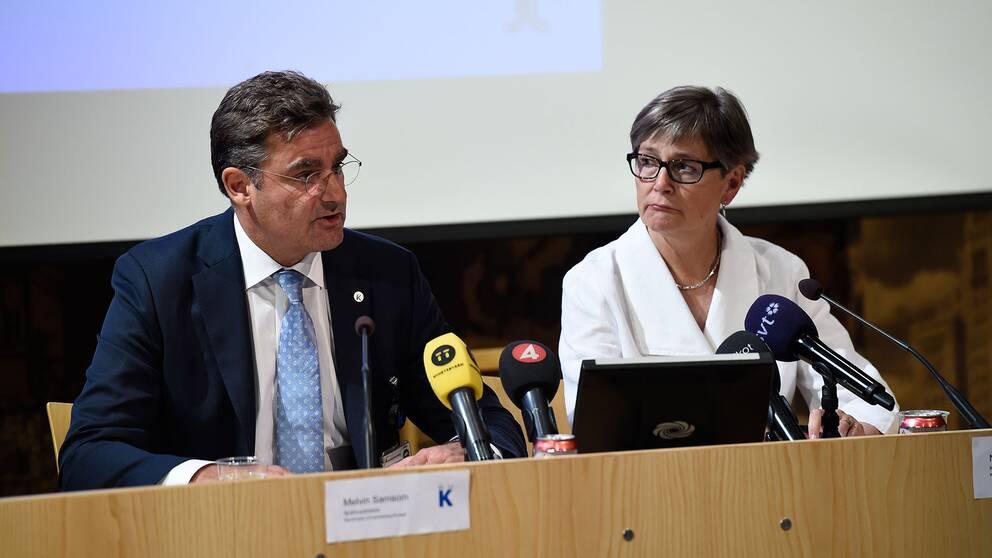 Melvin Samsom, sjukhusdirektör på Karolinska Universitetssjukhuset, och Nina Nelson Follin, chefläkare, svarar på resultatet av den externa utredning som gjorts kring överläkaren Paolo Macchiarinis verksamhet vid sjukhuset.
