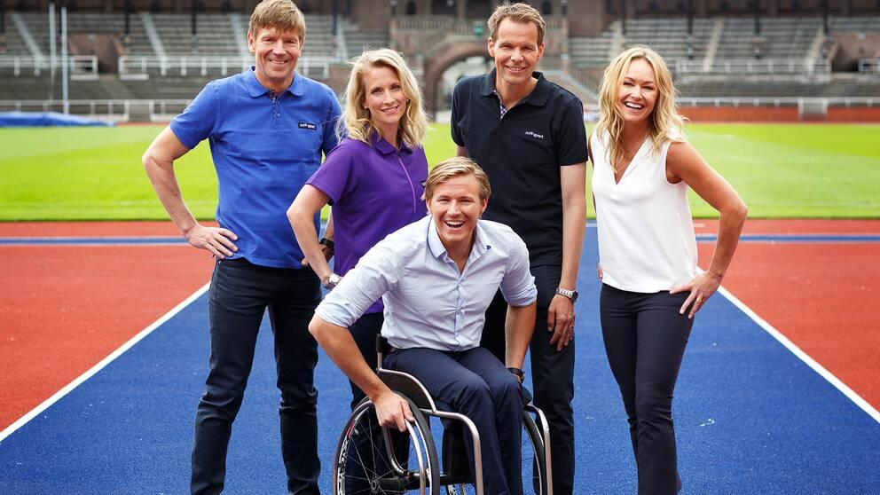 Peter Jonsson, Maria Wallberg, Björn Nordling, Yvette Hermundstad och längst fram, Aron Andersson arbetar med Paralympics 2016 för SVT.