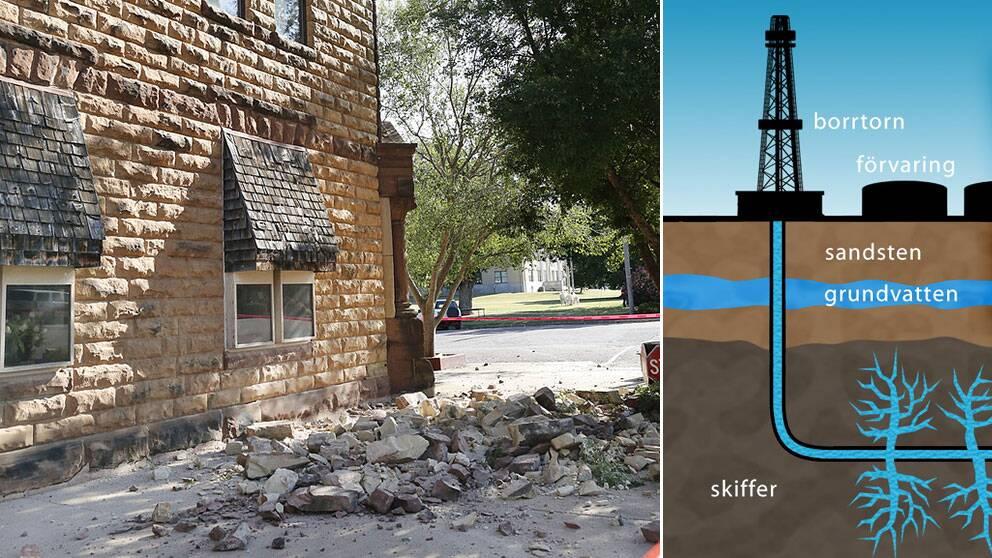 Skalvet i Oklahoma orsakade skador på fasader i orten Pawnee