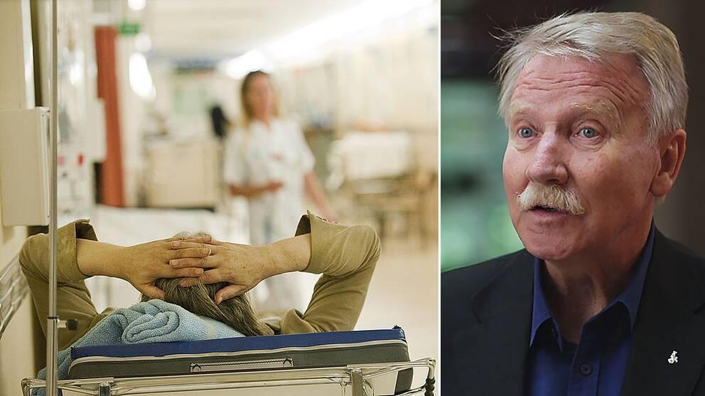 Säng på sjukhus och Ilmar Reepalu (S), särskild utredare.