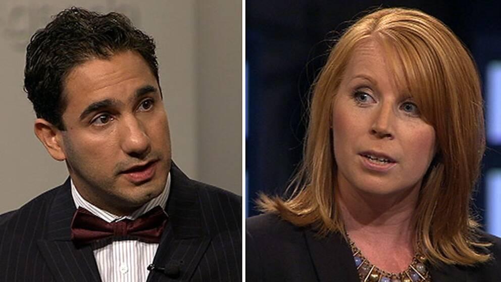 Ardalan Shekarabi (S) och Annie Lööf (C) i debatt i SVT:s Agenda