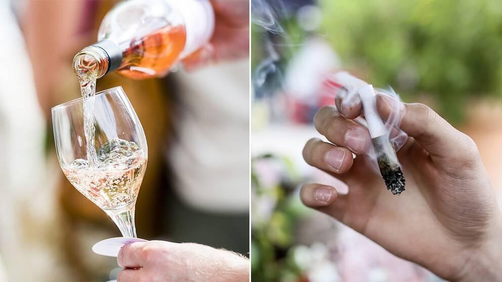 Tvådelad bild: Bild 1: Vinglas fylls upp med rosévin. Bild 2: Cigarett.