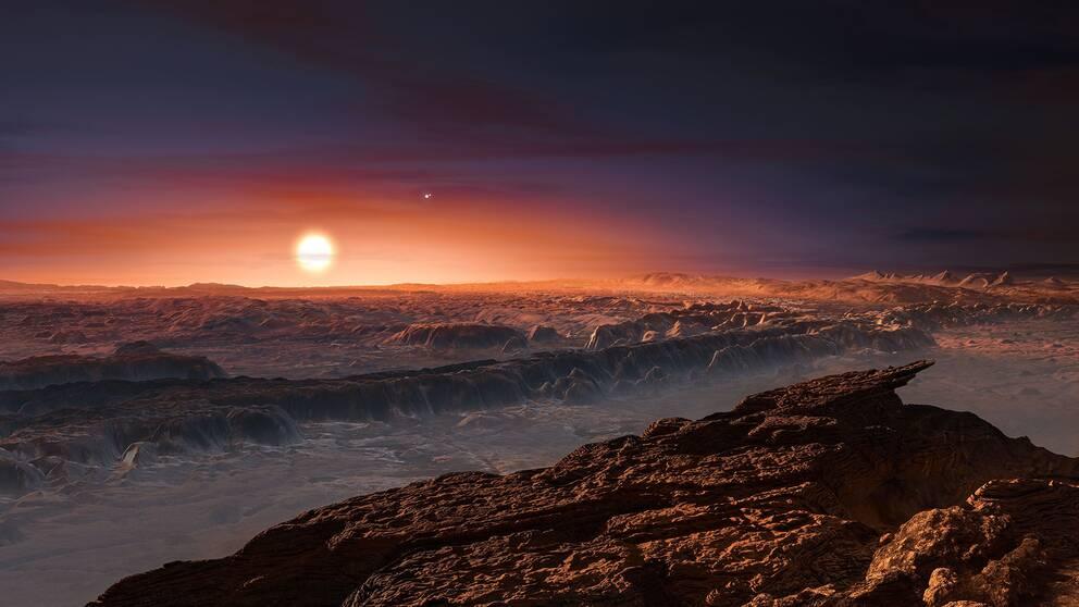 En rekonstruktion av hur den nyupptäckta planeten Proxima b kan tänkas se ut. I bakgrunden syns den röda dvärgstjärnan Proxima Centauri, den närmaste grannen till vår egen sol i Vintergatan.