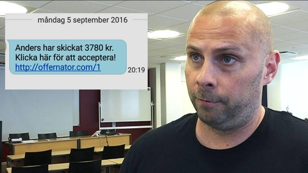Lars Andersson chef för polisens bedrägericentrum och bild på bluff-SMS:et.