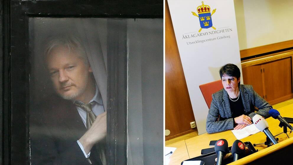 Julian Assange och Marianne Ny.