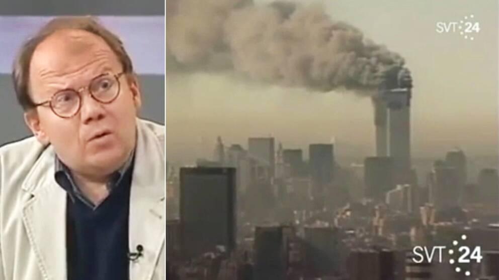 SVT:s utrikeskommentator Bo-Inge Andersson vid SVT24:s första sändning om terrorattackerna i USA, tisdagen den 11 september 2001 klockan 15.25.