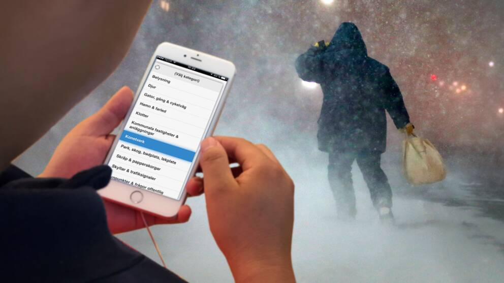 Den nya appen gör det enklare att felanmäla konst – eller snöröjning.