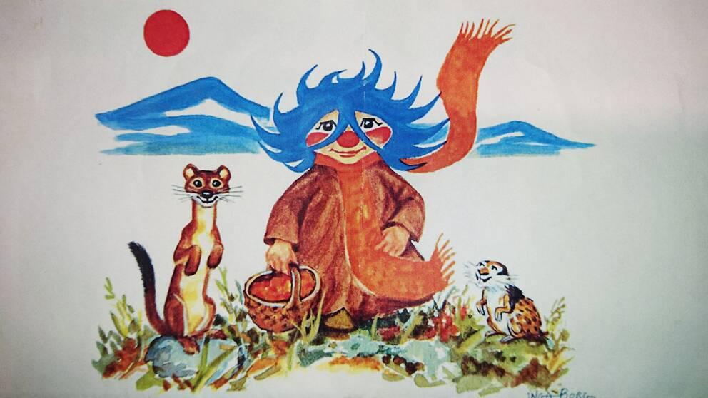 Tecknad bild på ett troll med blått hår, en hermelin och en fjällämmel