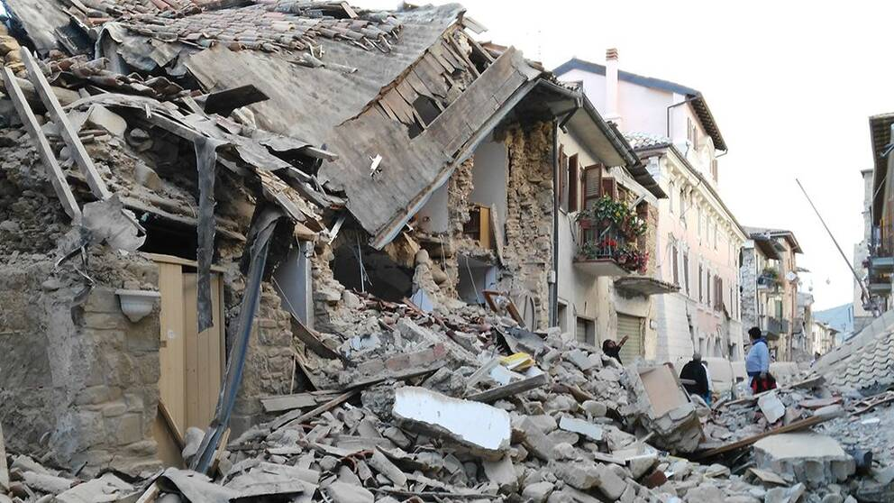 Huset Roland Ekström sov i när jordbävningen slog till i Amatrice