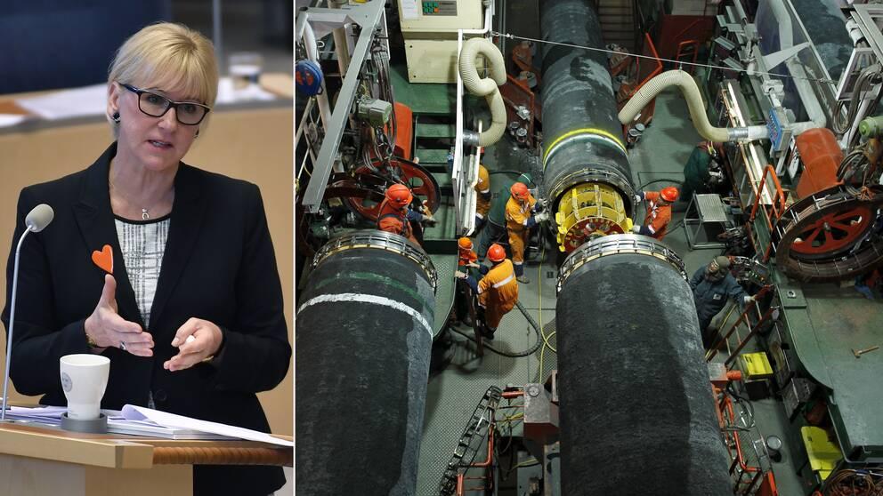 Sveriges utrikesminister Margot Wallström (S) under debatten i riksdagen om Nordstream 2.