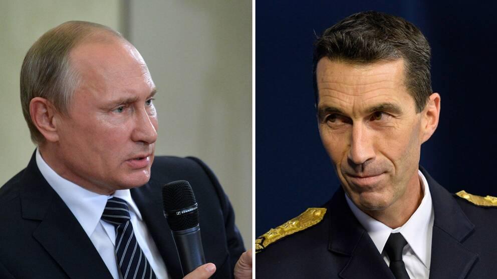Rysslands president Vladimir Putin och Sveriges överbefälhavare Micael Bydén.
