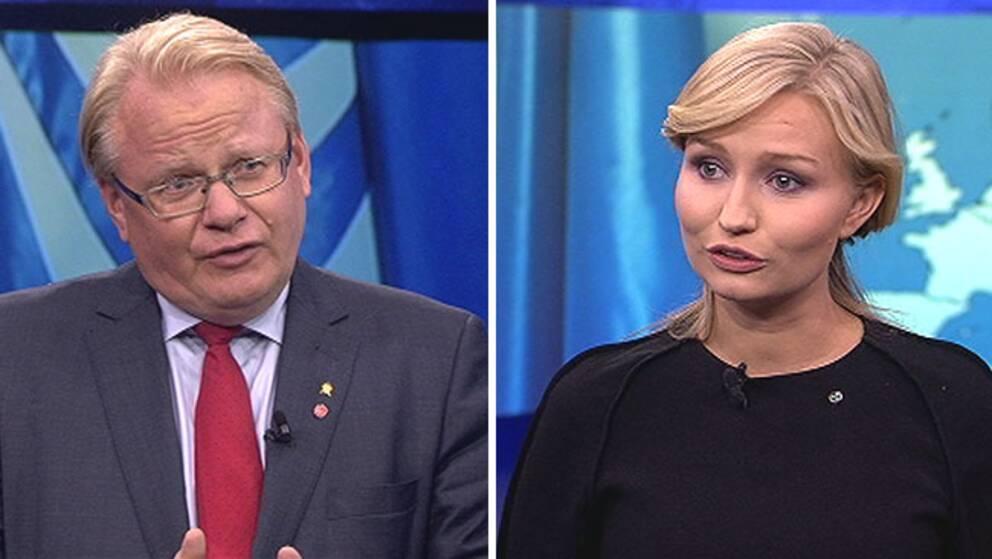 Försvarsminister Peter Hultqvist (S) och kristdemokraternas partiledare Ebba Busch Thor