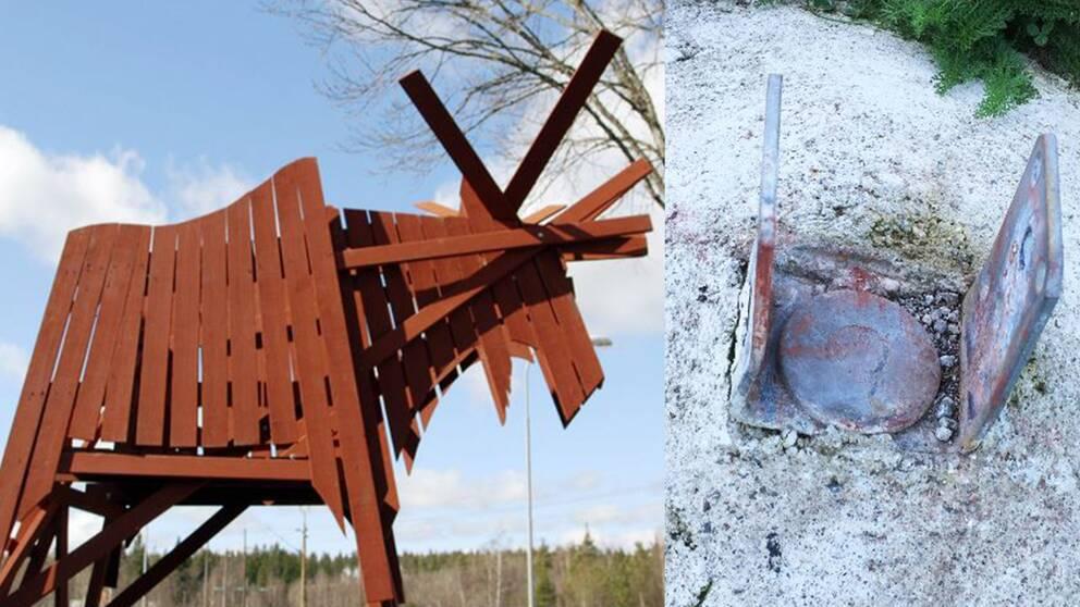 Till vänster en älg byggd i trä, faluröd. Till höger metallskon där älgen var monterad.