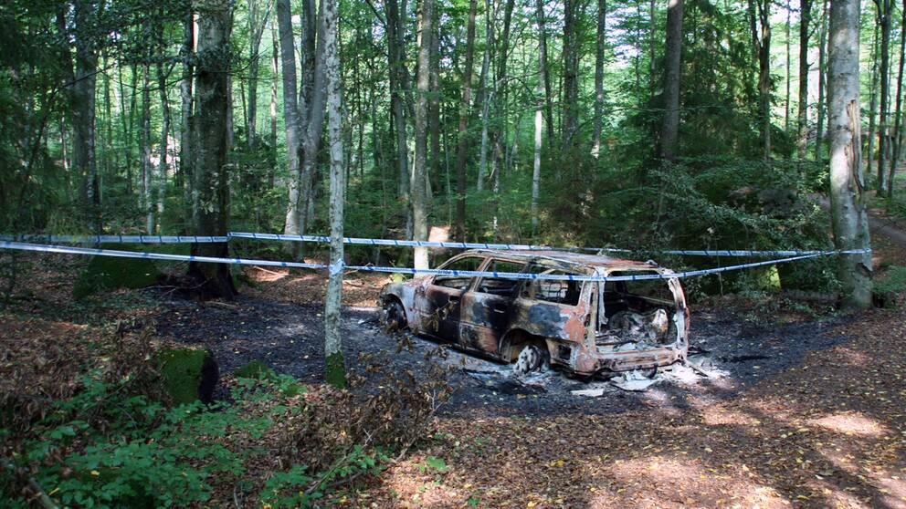 Den utbrända bilden på Gamla Hultavägen i Ronneby