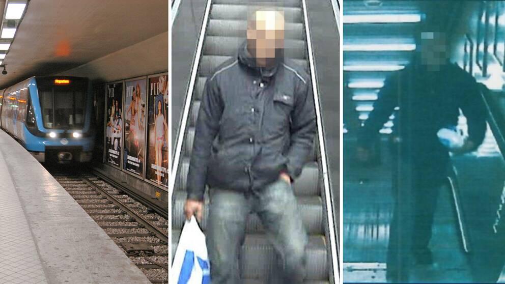 Mannen dömdes för att ha knuffat en 23-årig man framför spåret på T-centralen i Stockholm.