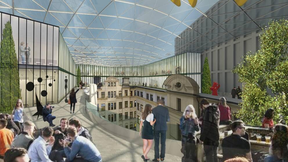 Illustration över möjlig ny takterrass på Marmorhallarna