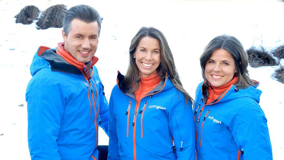 Per Elofsson, Magdalena Forsberg och Pernilla Wiberg. Foto: SVT