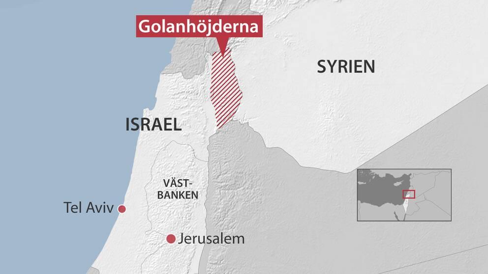 Rödmarkerade området visar Golanhöjderna.