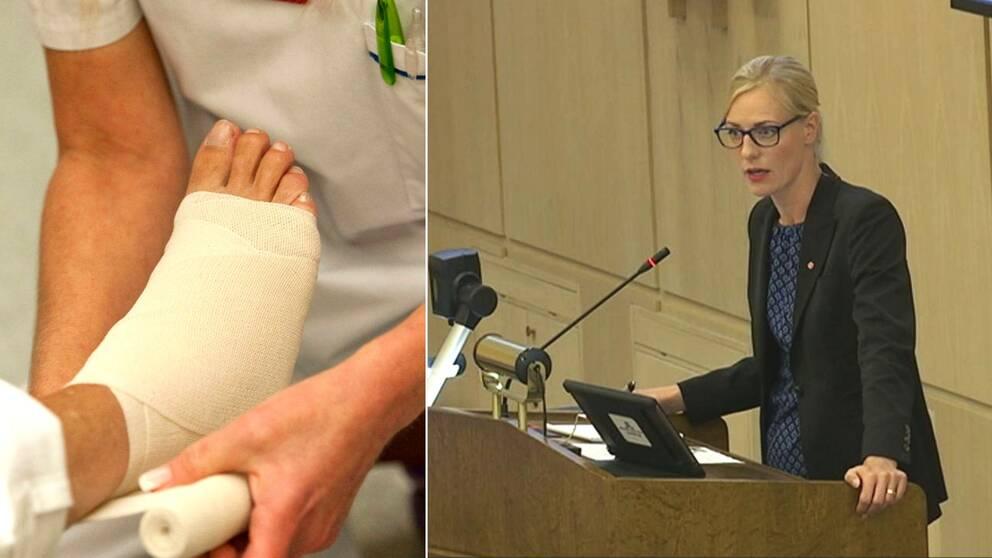 Bandagerad fot och det socialdemokratiska oppositionslandstingsrådet Erika Ullberg.