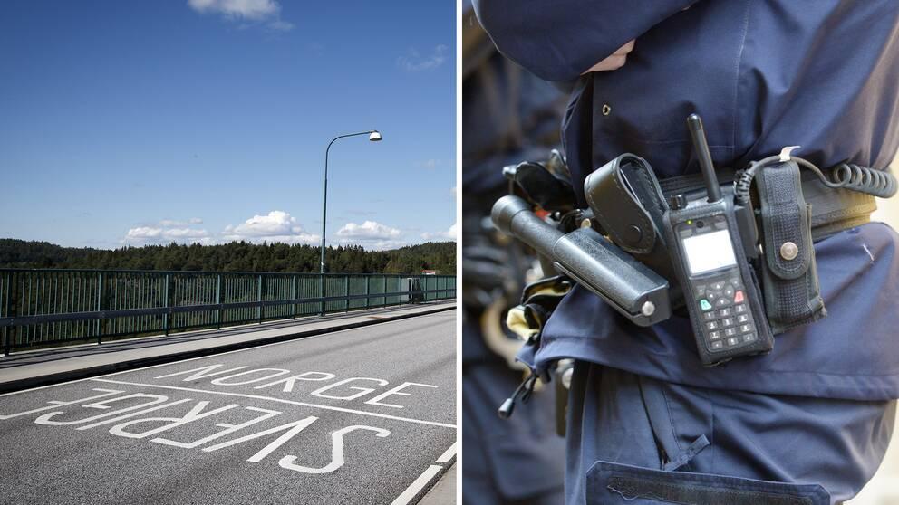 Montage: Gränsen mellan Norge och Sverige, samt en polis.