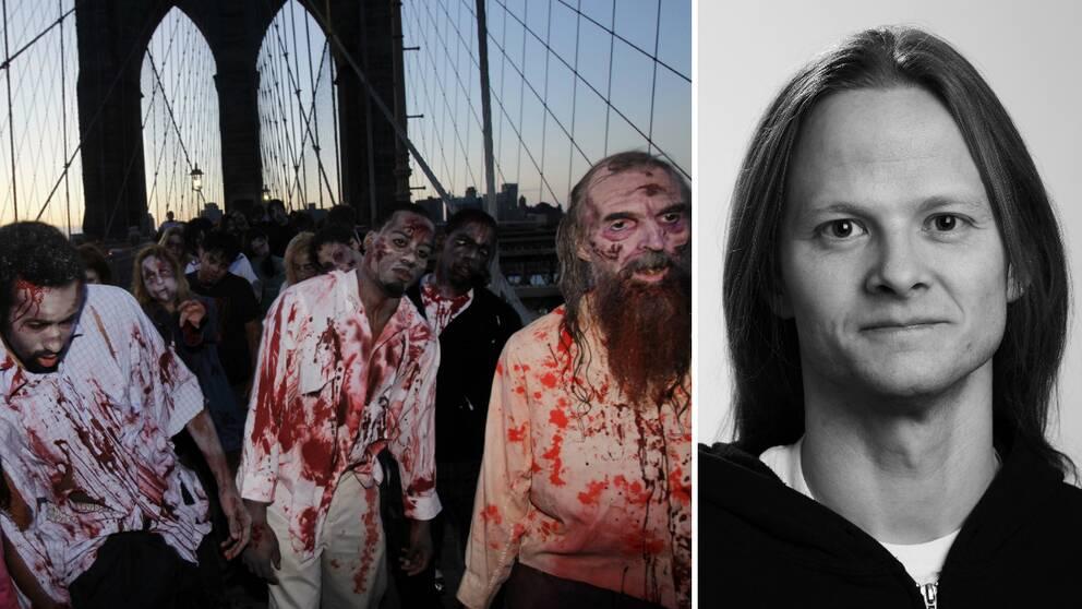 """Till vänster: skådespelare klädda till zombies i New York i samband med premiären av tv-serien """"The Walkning Dead"""". Till höger: zombieöverlevnadsexperten Herman Geijer."""