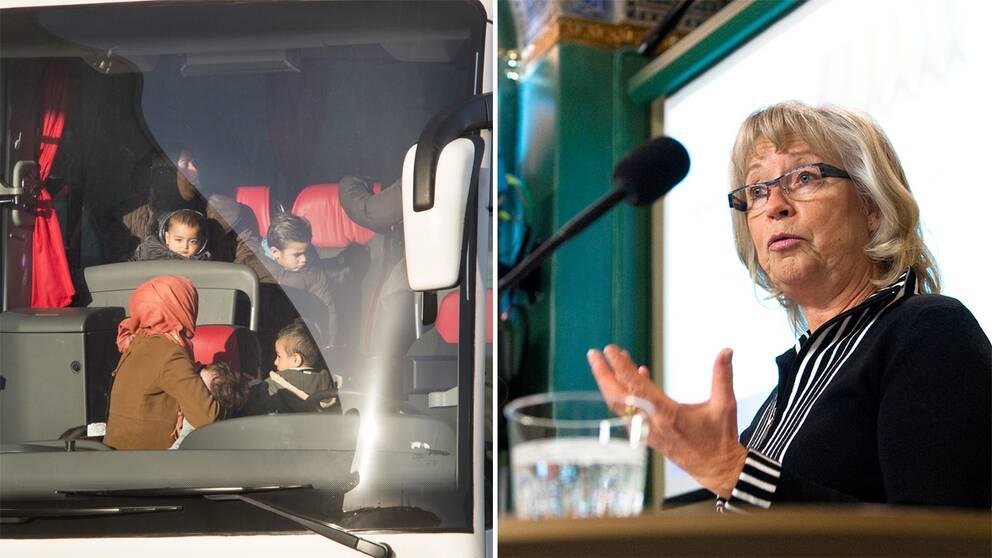 Chris Heister/Nyanlända flyktingar i en buss.