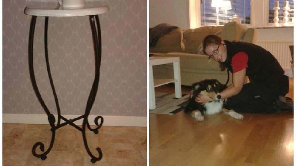 En hund i Nossebro fastnade under natten mot fredag i en gjutjärnspall.