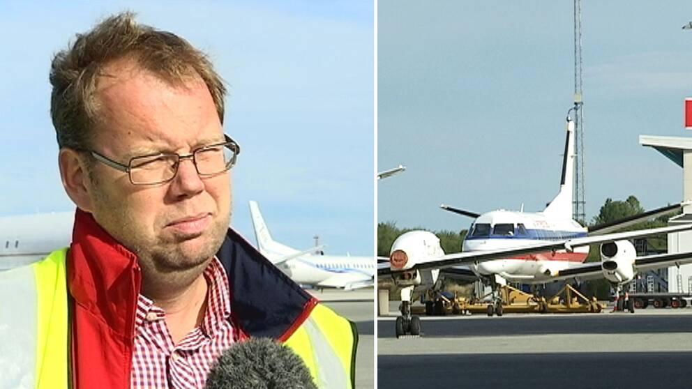 Mikael Smedberg, vd på Örebro flygplats, och Örebro flygplats