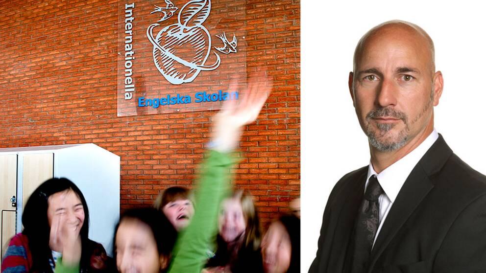 Elever framför Engelska skolans logotyp samt rektorn Johan Rapp.