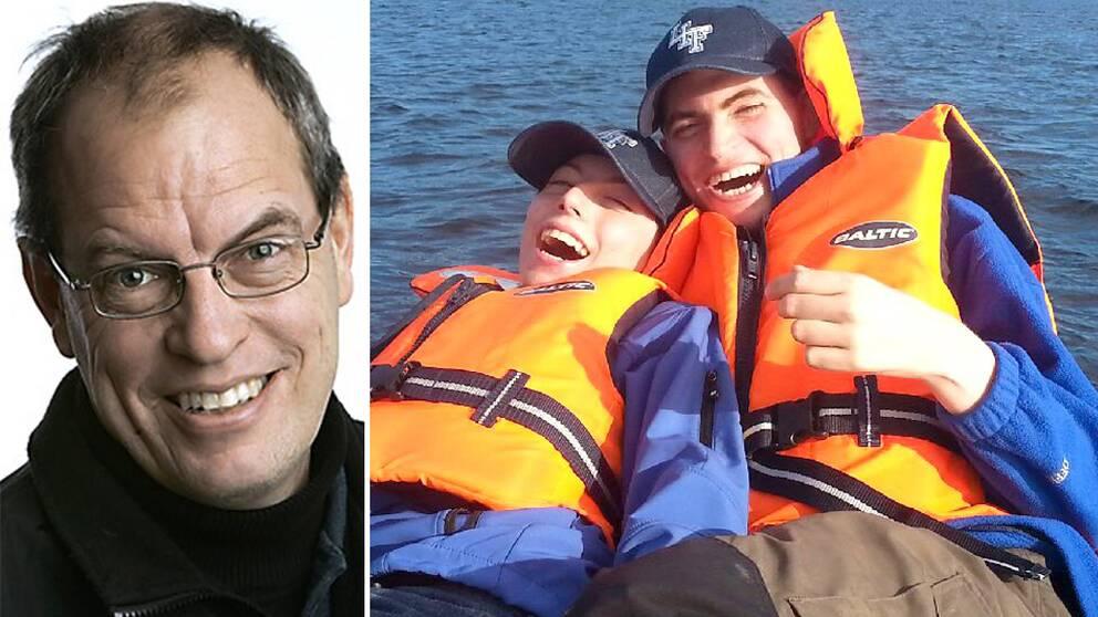 Anders Hansson och hans två söner. På bilden är pojkarna ute på fisketur, tillsammans med sina assistenter.