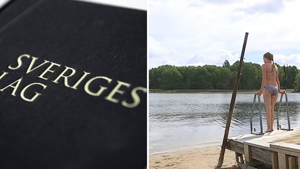 Lagbok och bild på flicka som står på brygga vid sjön Yxern där vattennivåerna är kritiskt låga
