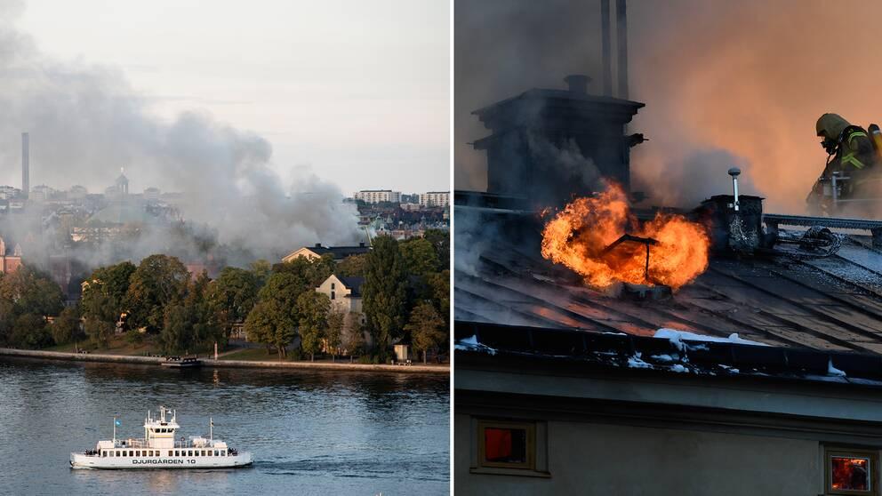 Vy över Stockholm och brandmän på taket
