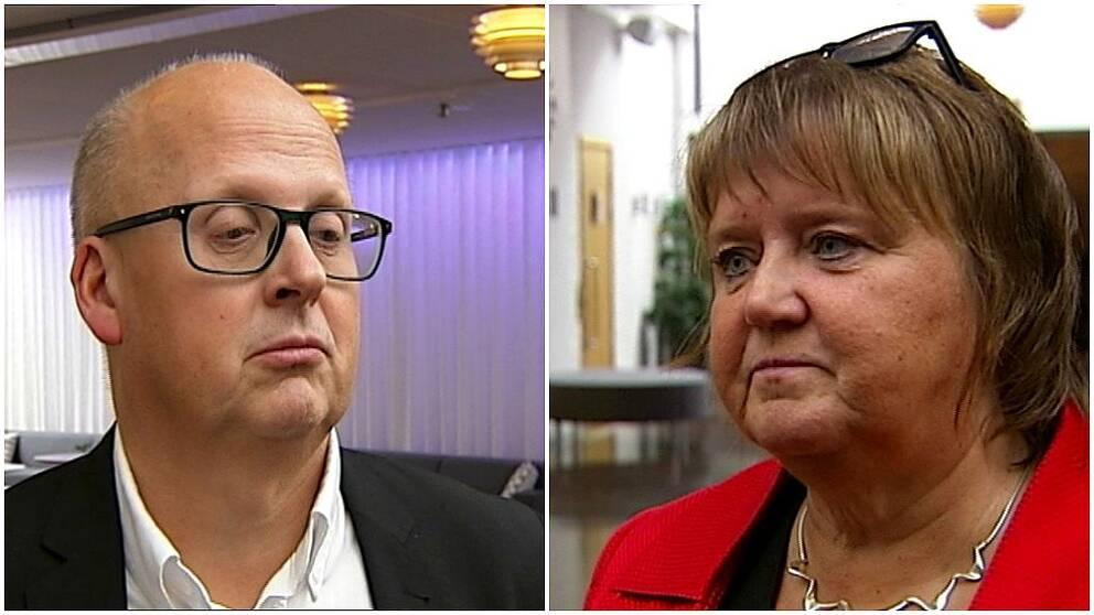 Korthårig man med glasögon och kvinna