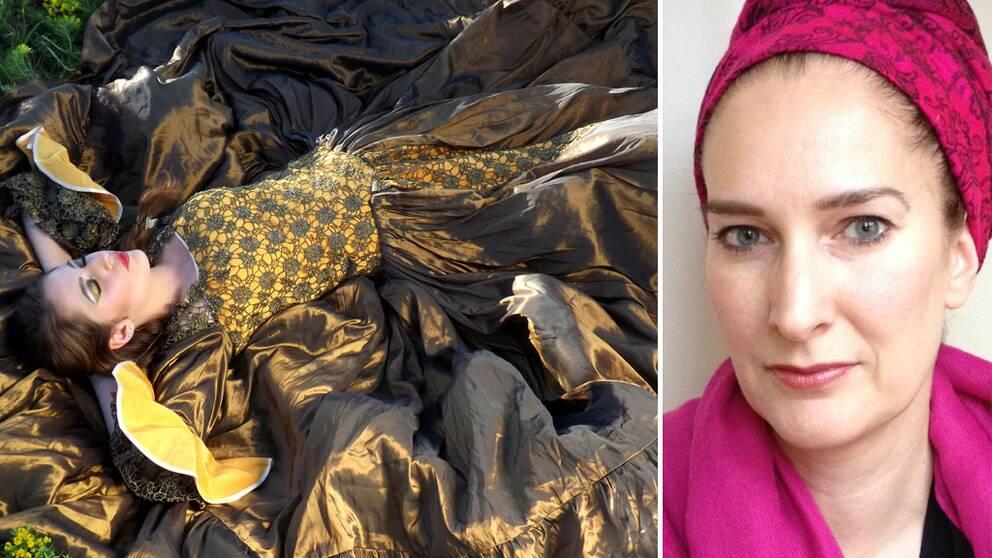 Törnrosa som modell och Anna E. Nachman till höger.